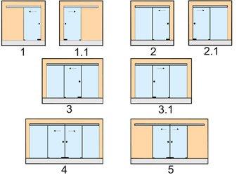 Варианты раздвижных стеклянных дверей