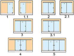 вариантов раздвижных стеклянных дверей